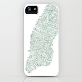 Map Manhattan NYC watercolor map iPhone Case