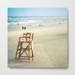 Lifeguard Chair on the Beach (Square) Metal Print
