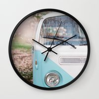 volkswagen Wall Clocks featuring Vintage Volkswagen Van by Leslee Mitchell