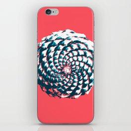 pine cone pattern in coral, aqua and indigo iPhone Skin