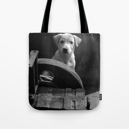 Junkyard stray bw Tote Bag