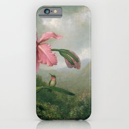 Orchid And Hummingbird Near A Mountain Waterfall 1902 By Martin Johnson Heade | Reproduction iPhone Case