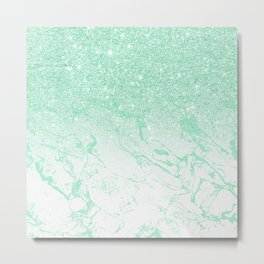 Modern faux mint glitter ombre mint turquoise marble Metal Print