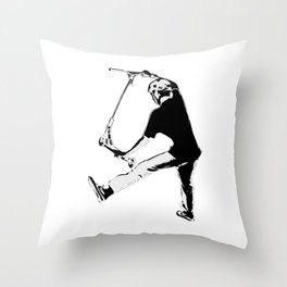 Deck Grabbing - Stunt Scooter Trick Throw Pillow