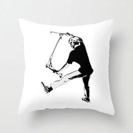 Deck Grabbing - Stunt Scooter Trick Throw Pillow