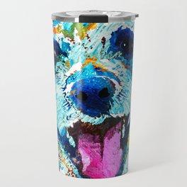 Colorful Dog Art - Smile - By Sharon Cummings Travel Mug