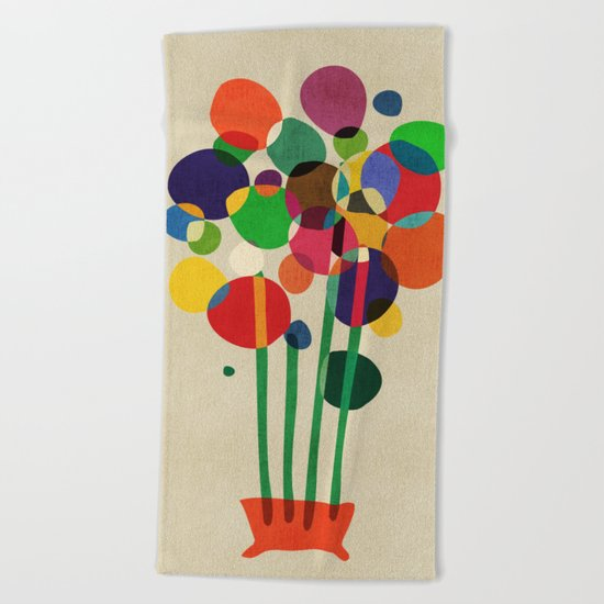 Happy flowers in the vase Beach Towel