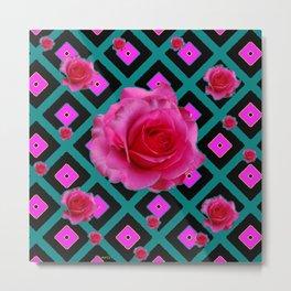 Black-Teal Fuchsia Pink Roses  Patterns Metal Print