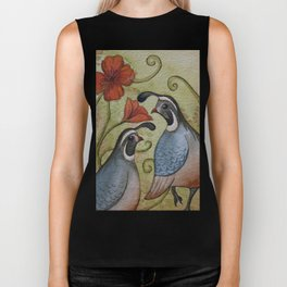 The quail and the poppy watercolor Biker Tank