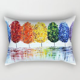 Rainbow Trees Rectangular Pillow