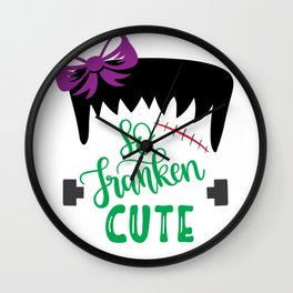 So Franken Cute With Bow - Halloween Holiday Wall Clock