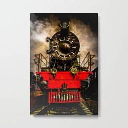 Vintage Steam Engine Locomotive - Back From The Farness Metal Print