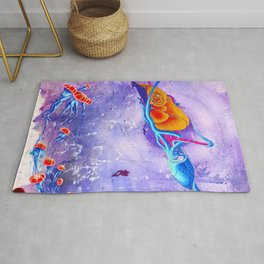 """Gods of the Sea"" Whale,Colossal Squid ,jellyfish and diver Ocean Animal Art Rug"