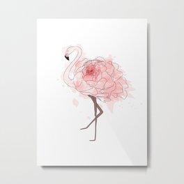 Red Rose Flamingo Metal Print