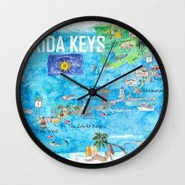 Florida Keys Key West Marathon Key Largo Illustrated Travel Poster Favorite Map 2nd Signpost Edition Wall Clock
