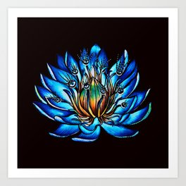 Multi Eyed Blue Water Lily Flower Art Print