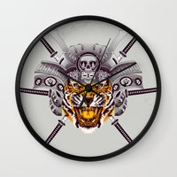 tigger Wall Clocks featuring Tiger Warrior by rendhy wahyu