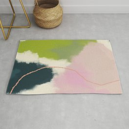 sky abstract with pink & green clouds Rug