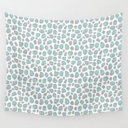 Leopard Animal Print Aqua Blue Gray Grey Spots Wall Tapestry
