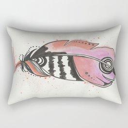 Pink and Orange Feather Rectangular Pillow