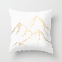 Adventure White Gold Mountains Throw Pillow