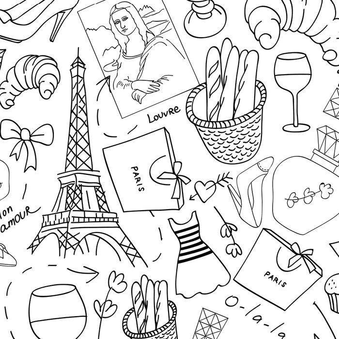 Paris doodle pattern Leggings