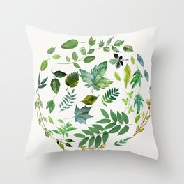 Circle of Leaves Throw Pillow