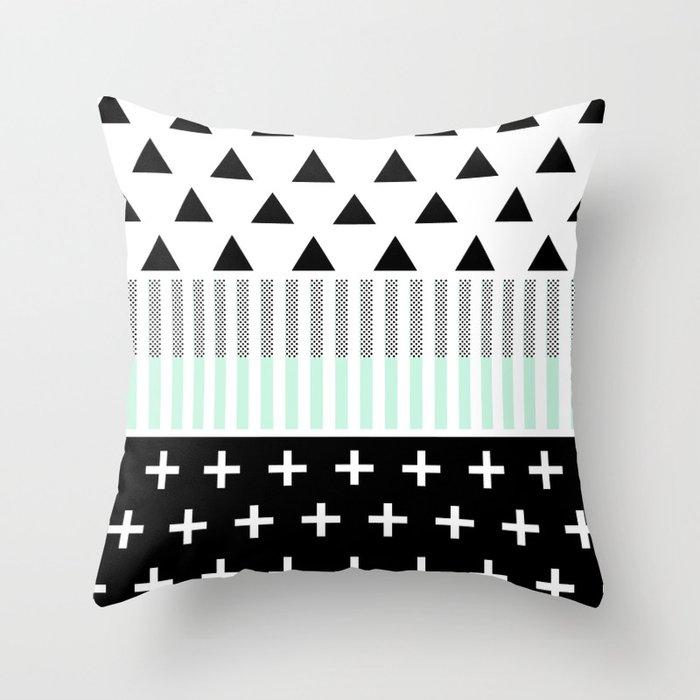 Modern Elegant Mint, Black,  & White Shapes Throw Pillow