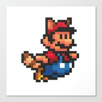 mario bros Canvas Prints featuring Pixelated Super Mario Bros - Mario by Katadd