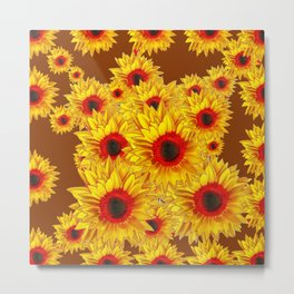 Coffee Brown & Red Centered Yellow Sunflowers Metal Print
