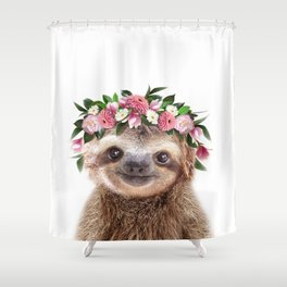 Baby Sloth With Flower Crown, Baby Animals Art Print By Synplus Shower Curtain