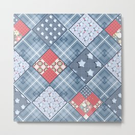 Pale blue patchwork Metal Print