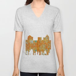 Greensboro, NC Skyline - Rust Unisex V-Neck