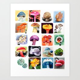 Mushrooms with Tony Art Print