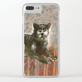 Cat on the sofa Clear iPhone Case