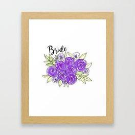 Bride Wedding Bridal Purple Violet Lavender Roses Watercolor Framed Art Print