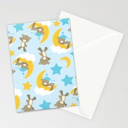 Pattern Of Cute Bears, Brown Bears, Blue Stars Stationery Cards
