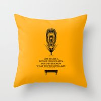 forrest gump Throw Pillows featuring Lab No. 4 - Forrest Gump Inspirational Typography Quotes Poster by Lab No. 4