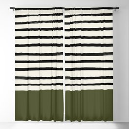 Olive Green x Stripes Blackout Curtain