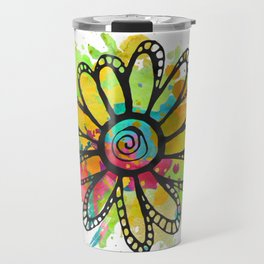 GC031-10 Colorful watercolor doodle flower green and purple Travel Mug