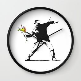 Love Is In The Air (Flower Thrower) - Banksy Graffiti Wall Clock
