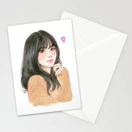 Pink heart - cute girl smiling Stationery Cards