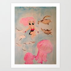 Sandy Pickles, Swimming With The Fishes! Art Print
