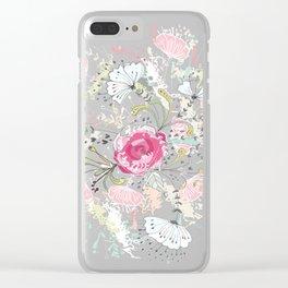 Rose-bouquet print Clear iPhone Case