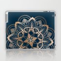 Lotus metal mandala on blue by quickpoet