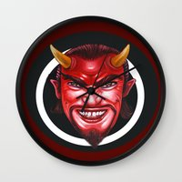 devil Wall Clocks featuring Devil by Michael Forbes