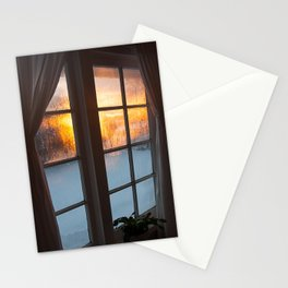 Cold winter sunrise window photography Stationery Cards
