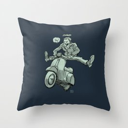 Scootering Throw Pillow
