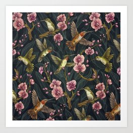 Hummingbird Pattern Art Print