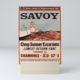 retro old savoy summer excursions from london to chamonix with the plm railway poster Mini Art Print